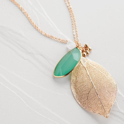 Gold Leaf and Green Stone Pendant Necklace