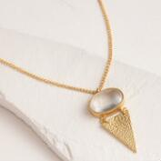 Gold Triangle and Glass Pendant Necklace