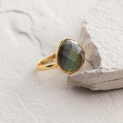 Gold Labradorite Teardrop Stone Ring