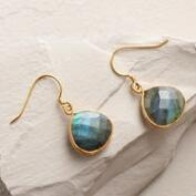 Large Gold Labradorite Teardrop Earrings
