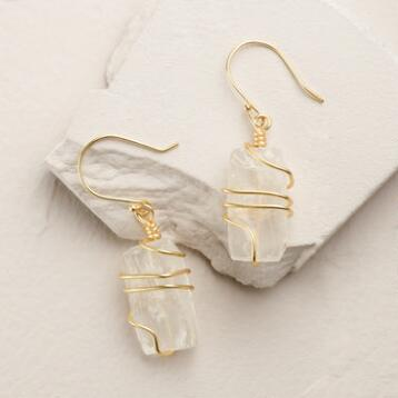 Gold Wire Wrapped Quartz Earrings