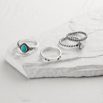 Silver Moonstone and Turquoise Etched Rings, Set of 5