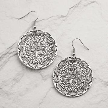 Silver Mosaic Drop Hoop Earrings