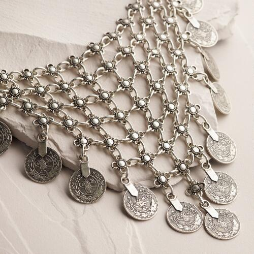 Silver Woven Chain Coin Necklace
