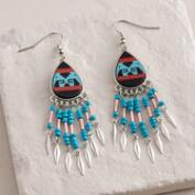 Turquoise Southwestern Beaded Dangle Earrings