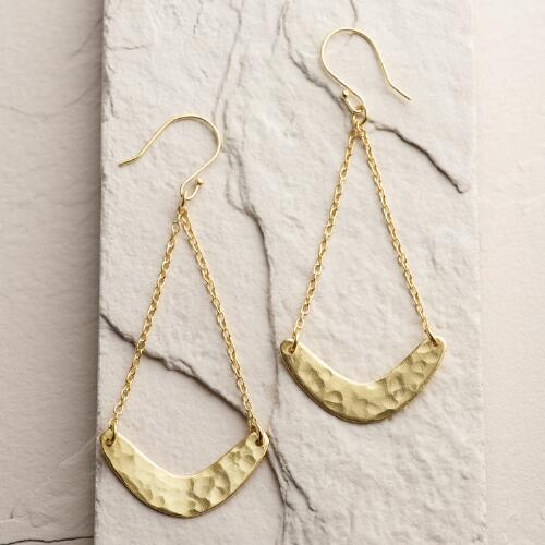 Long Gold Crescent Drop Earrings