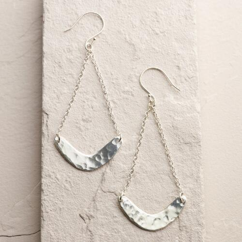 Long Silver Crescent Drop Earrings