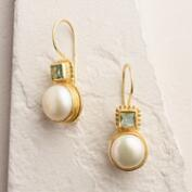 Gold Pearl and Aqua Drop Earrings