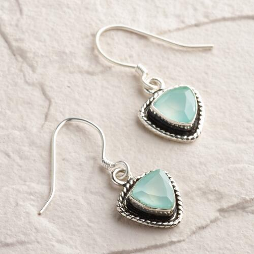 Silver Chalcedony Drop Earrings