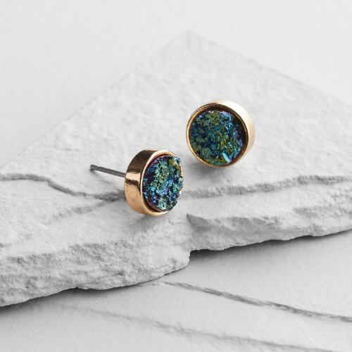 Blue Druzy Quartz Drop Earrings