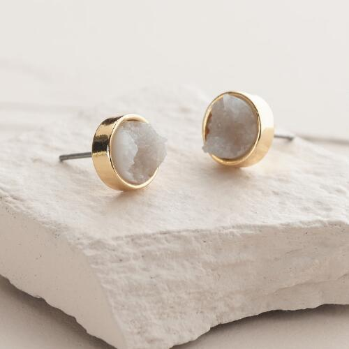Gold Druzy Quartz Circle Stud Earrings
