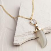 Gold Light Gray Horn Pendant Necklace
