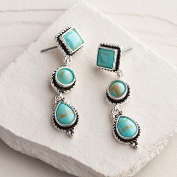 Silver 3-Tier Turquoise Drop Earrings