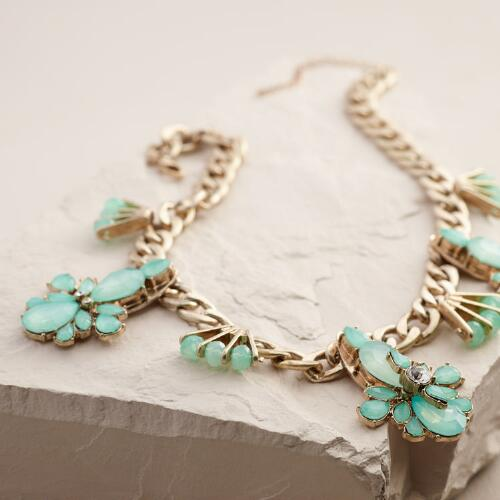Gold and Mint Jewel Chain Statement Necklace