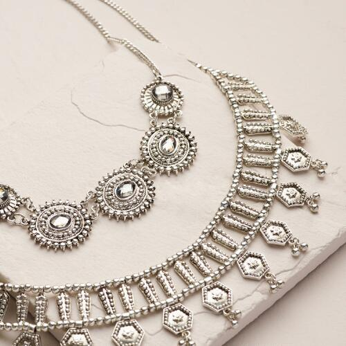 Silver Oversized Statement Necklace