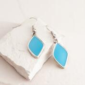 Silver and Turquoise Enamel Drop Earrings