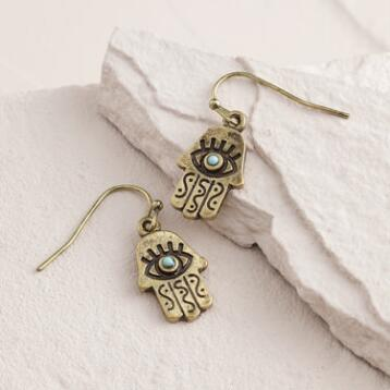 Gold Hamsa Engraved Drop Earrings