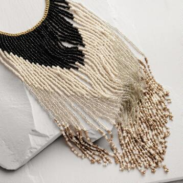 Multicolor Beaded Fringe Necklace