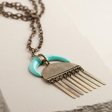 Gold Horn and Geometric Mint Necklace