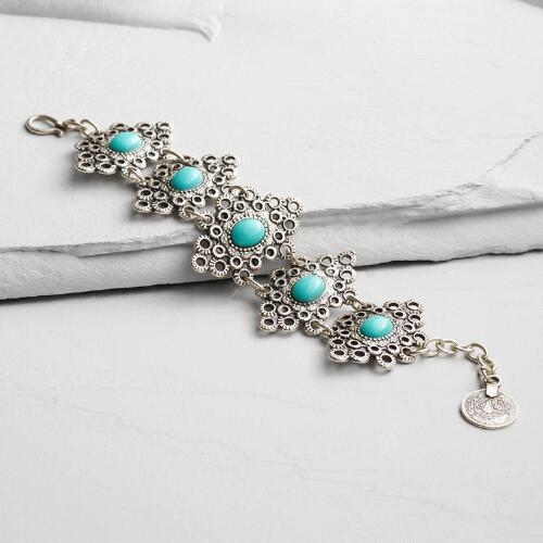 Silver Filigree and Turquoise Bracelet