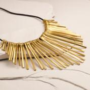Brass Spoke Statement Necklace