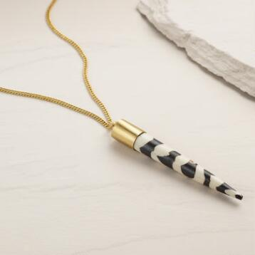 Brass and Bone Horn Milla Pendant Necklace