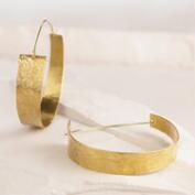 Wide Brass Livati Hoop Earrings