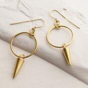 Brass Spike Pembe Hoop Earrings