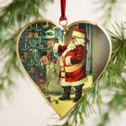 Metal Vintage-Style Santa Heart Ornaments, Set of 3