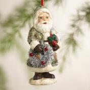 Paper Pulp Santa Print Ornaments, Set of 2