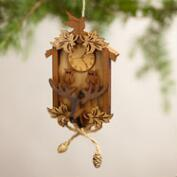 Wood Cuckoo Clock Ornaments, Set of 2