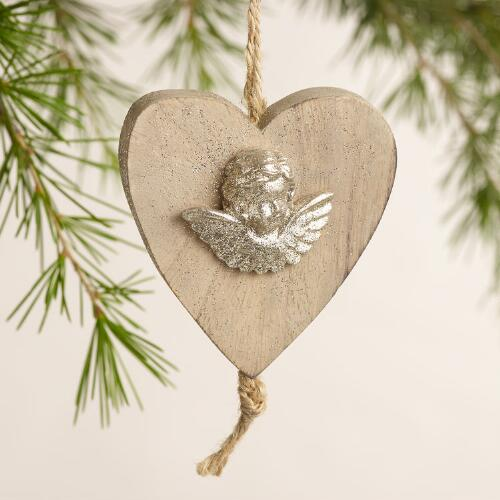 Wood Heart with Cherub Ornaments, Set of 3
