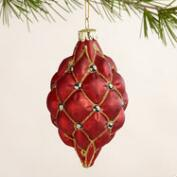 Glass Quilted Orb Ornaments, Set of 2
