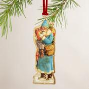 Metal Vintage-Style Santa Ornaments, Set of 4