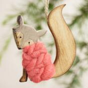 Wood and Wool Fox Ornaments, Set of 3