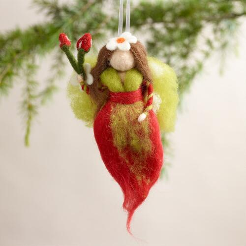 Felt Garden Angel Ornaments, Set of 2