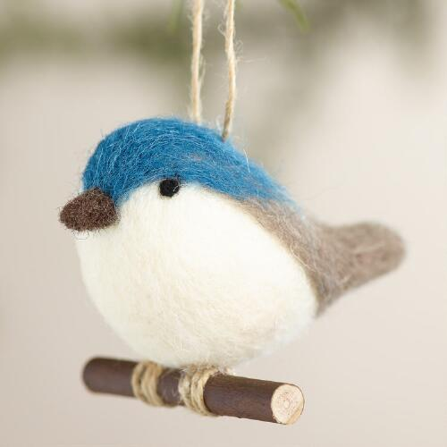 Felt Bird Ornaments, Set of 2