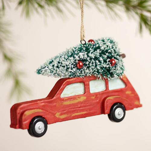 Car with Tree Ornaments, Set of 2