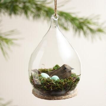 Bird in Glass Cloche Ornament