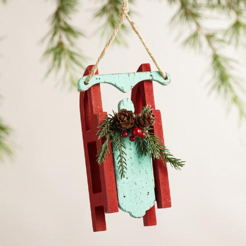 Wood Sled Ornaments, Set of 3