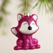 Glittered Glass Fox Ornaments, Set of 3
