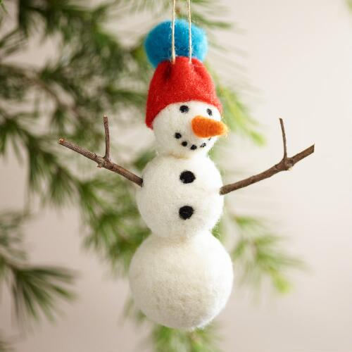 Felt Snowman Ornaments, Set of 3
