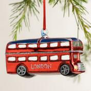 Glass London Bus with Flag Ornament