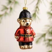 Glass United Kingdom Bear Ornaments, Set of 2