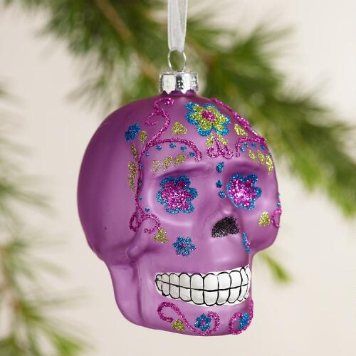 Glass Skull Ornaments,  Set of 3