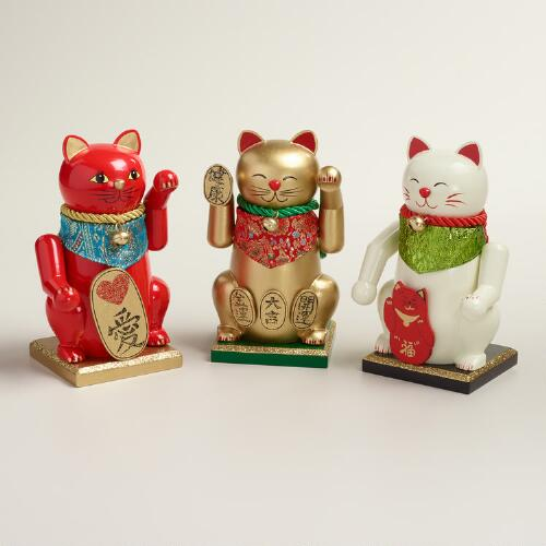 Lucky Cat Nutcrackers, Set of 3