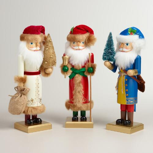 Old-World Santa Nutcrackers , Set of 3