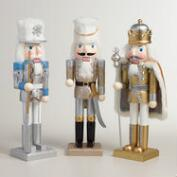Glittered Traditional Nutcrackers,  Set of 3