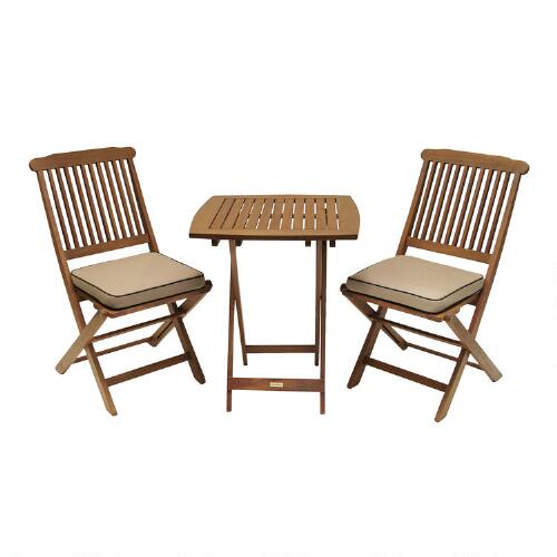 Cavallo 3-Piece Bistro Set with Natural Cushions