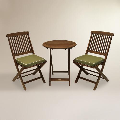 Cavallo 3-Piece Bistro Set with Sage Cushions